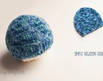 Hand Knit Baby Beanie, Classic Newborn Beanie, Blue Newborn Hat, Baby Boy Knit Hat, Newborn Hat, RTS