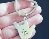 ASL I Love You Keychain - American Sign Language Key Ring - Gift for Someone Special - Gift for Her - Mommy Keychain