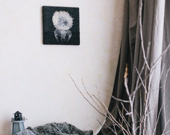 Wool felt home decor, Work in Naiv style ,home decor, cozy, painting, wall decor, natural materials, felt painting
