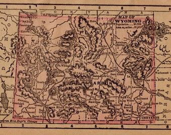 RARE Size WYOMING Map of Wyoming State Map Gallery Wall Art Office Decor Vintage 1888 MINIATURE Map  Plaindealing 5062