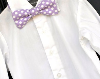 childs bowtie, purple bowtie, purple polka dot bowtie, lavender bowtie, baby bowtie, toddler bowtie, little boy bowtie, purple Easter bowtie