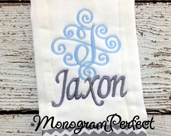 Personalized Baby Boys Blue & Gray Burp Cloth
