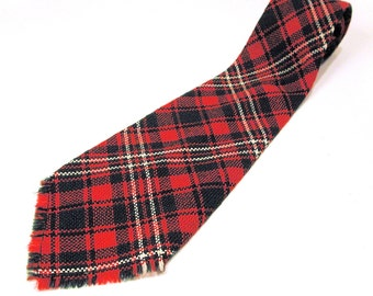 40s Tie, Red Plaid Wool Tie, Vintage Green Red Tartan Plaid Tie, 1940s Tie, Red Plaid Tie