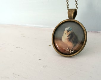 Baby Animal Pendant Necklace of A Chicken Wearing A Miniature Crown Chicks in Hats