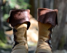 Renaissance Boots - Custom Moccasin Boots - Leather Boots with Pirate Cuff - Brown Leather Boots - Medieval Boots -