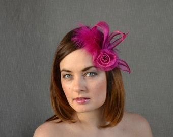 Hot Pink Sinamay Fascinator with Rose - Bridesmaid Fascinator