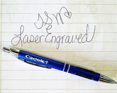 1 Engraved Anodized Aluminum Blue Pens - Parker Style Black Ink Cartridge with grip