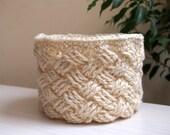 CROCHET PATTERN woven basket, storage bin, Celtic cable bowl, home decor, DIY photo tutorial, Instant download
