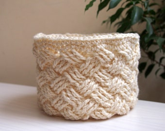 CROCHET PATTERN woven basket, braided storage bin, Celtic cable bowl, home decor, DIY photo tutorial, Instant download