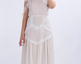 Bohemian wedding dress,Spring wedding dress,Beach wedding dress,Prairie dress,Festival dress,Gauzy dress,Summer boho dress