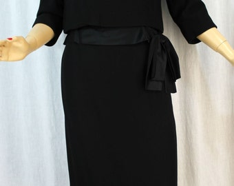 Harvey Berin S Vintage 60s Two Piece Little Black Wool Crepe Dress