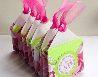 set of 6 tea bag holders in pink and lime green - tea party favors - fuchsia - hot pink - floral party favors