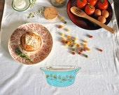 Tea Towel: Vintage Pyrex Clover Berry Flour Sack Tea Towel Gold and Turquoise