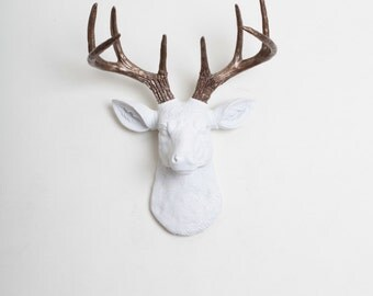 Faux Taxidermied Deer Head Decor- The MINI Lydia- White W/ Bronze Metallic Antlers Resin Deer Head Wall Mount - Resin White Faux Taxidermy