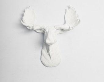 Faux Taxidermy White Moose - The MINI Edmonton - Spring Decorations - Celebrations - White Faux Taxidermy - White Moose Head w/White Antlers