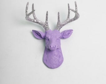 Faux Deer Head - The MINI Sophia - Lavender W/ Silver Glitter Antlers Resin Deer Head- Stag Resin White Faux Taxidermy