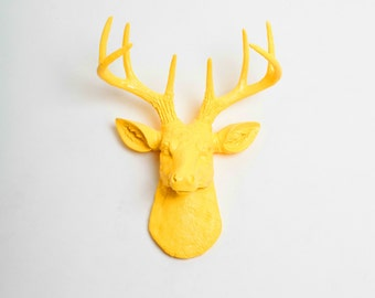 Faux Taxidermy Deer Head, The MINI Pablo - Yellow Resin Deer Head Wall Mount - Resin Stag Hanging by White Faux Taxidermy