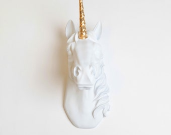 The Bayer Unicorn Head White W/ Gold Alicorn - Faux Taxidermy Unicorn Wall Mount - White Faux Taxidermy, Unicorn Wall Mount- Kids Room Decor
