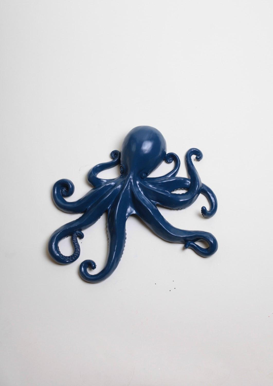 the kraken wall hanging octopus art in navy large navy faux. Black Bedroom Furniture Sets. Home Design Ideas