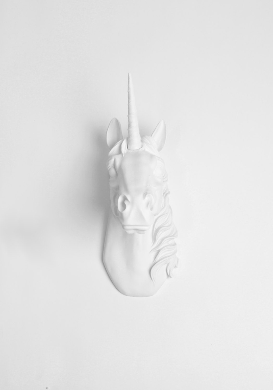 Unicorn head in white wall mount the bayer by whitefauxtaxidermy