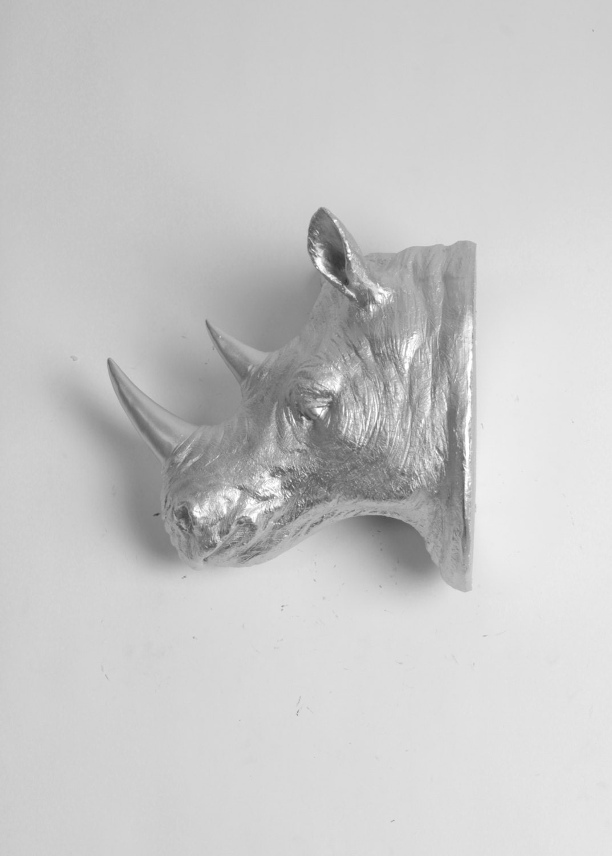 The Haxton Silver Resin Rhino Head Rhino By Whitefauxtaxidermy