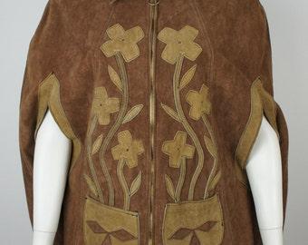 Vintage 1970's Ladies Leather Suede Poncho with Appliqué