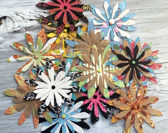 Paper flowers - paper flower embellishments set of 4 triple layer 3 inch diameter random assortment
