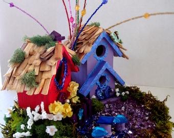 Enchanting ....Little Fairy Village...Three Houses,Fairies,Flowers,Mosses........OOAK