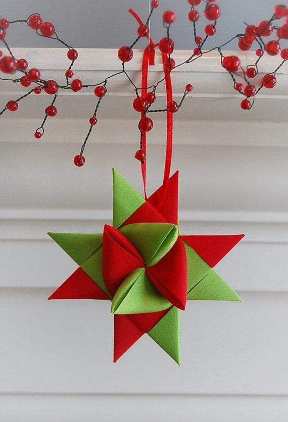 SALE Christmas Fabric Star Ornament