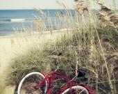 Red Beach Cruiser Bike Photo Print Wall Art Path Sand Dune Nautical Decor Summer Autumn Peaceful Beach Cottage House Pastel Vintage Sea Oats