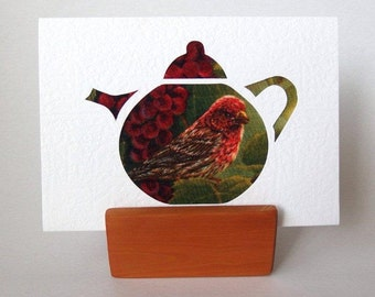 "TEAPOT Card RED BIRD Fabric 6"" x 4"" with envelope. Blank for any occasion. Red bird with berries textured white card."