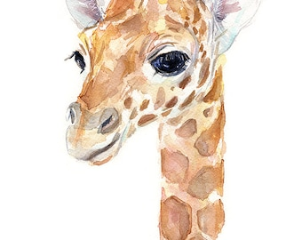 Giraffe Baby Animal Watercolor, Art Print, Nursery Decor, Zoo Animal Portrait, Giclee