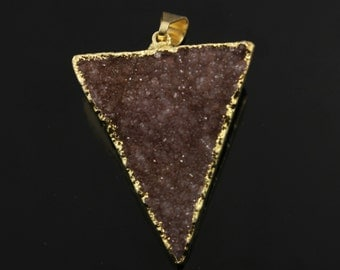 Dazzling Druzy Triangle Pendant in Stunning Earth Tones, Heavy Gold Plated, 25x31mm, A+ Gorgeous Quality, Electroplated Edge (DZY/TRI/140)