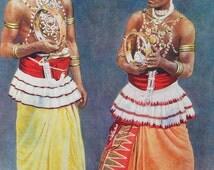 1920s TAMIL Dancers and CEYLON Tea Planters Sri Lanka Doublesided Lithograph Print