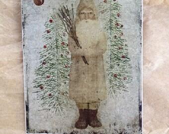 German Santa Primitive Christmas Hang Tags