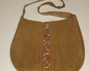 Vintage Leather Embroidery Shoulder Bag