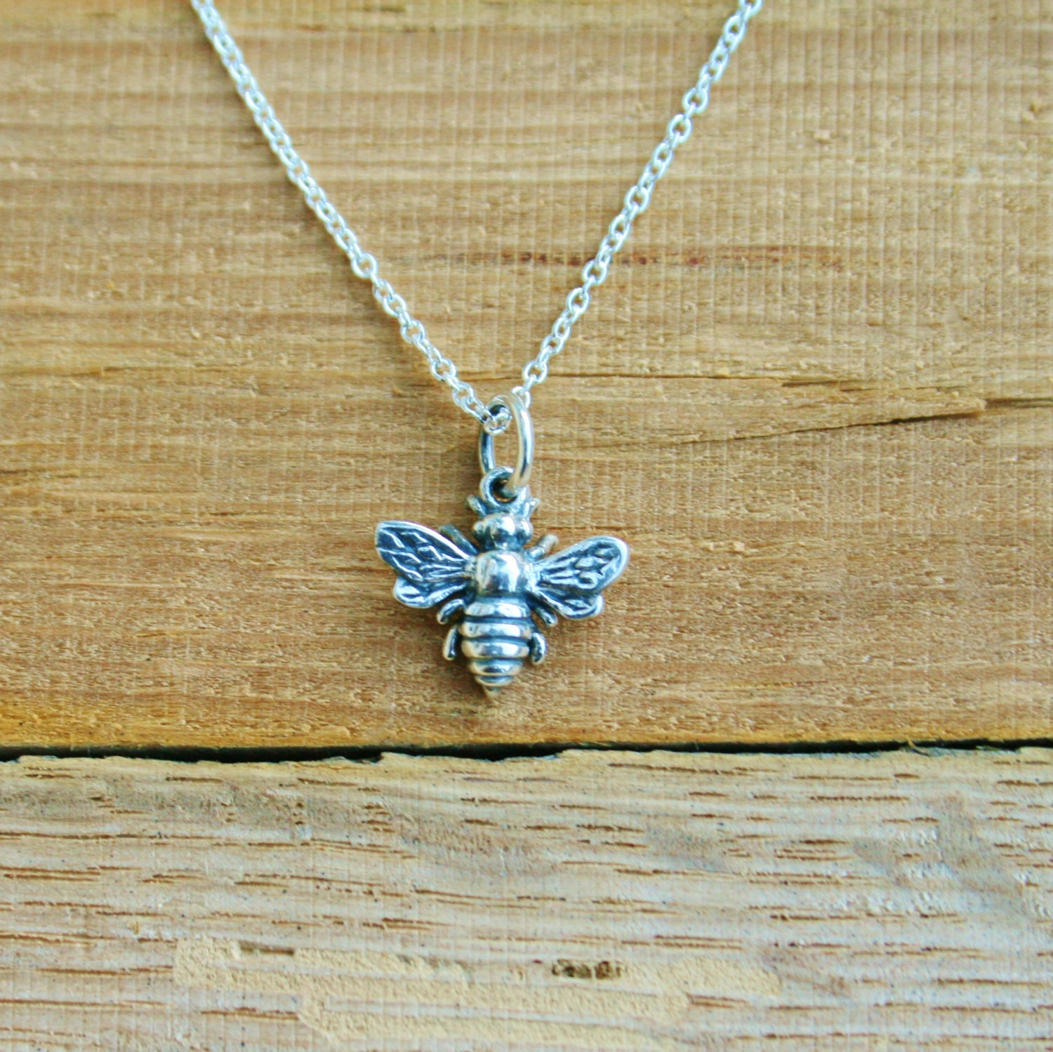 Sterling Silver Bee Charm Necklace Honey Bee Charm Necklace