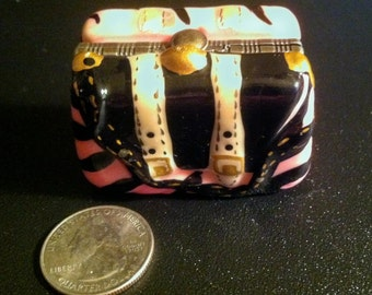 Miniature Porcelain Purse Hand Bag Trinket Vanity Pill Box ~ Free Shipping