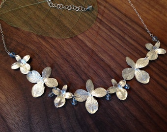 Hydrangea Flower Necklace in Sterling Silver with Blue Topaz