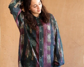 mid 90s vintage SILK VERSACE style button up shirt