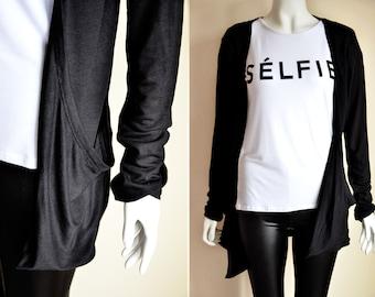 Black long sleeve soft stretchy pocket CARDIGAN