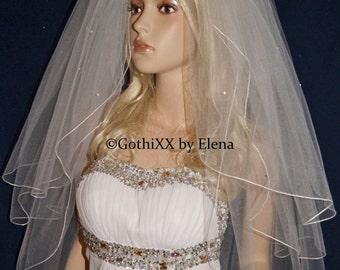 "Wedding Veil Elbow Waist length Black Red Purple Pink Beige Ivory 3Tiers 72"" Width 22"" 27"" 32"" Length Swarovski Embellishments Pencil Edging"