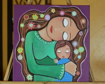 """Charming Original Mixed Media painting On canvas 12x12 inch (30.5X 30.5 cm) """"Mother's Love"""" by Evona"""
