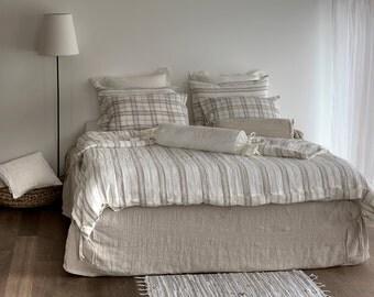 Linen bed skirt - natural Bed SKIRT - linen dust skirt - flat bed skirt - custom bedskirt - bed skirt queen - bed skirt king