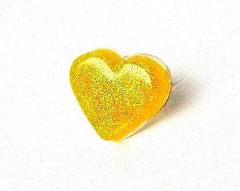 Yellow heart ring - sparkly heart ring - lemon yellow - glitter resin ring - neon yellow - kawaii ring - sweet lolita