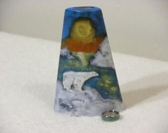 "Flower Vase, Polar Bear, Holiday Christmas Gift Artificial Dry Silk Arrangement, Decor, Ceramic, Hand Painted USA, 5.25"" Tall, READY to Ship"