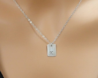 Sterling Silver Personalized Tag Necklace - Initial Necklace - Hand Stamped Sterling Silver Jewelry
