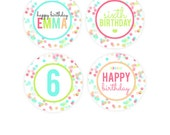 Sprinkles & Confetti Birthday Party Package - Sprinkle Cupcake Toppers - Neon Confetti Party Favors