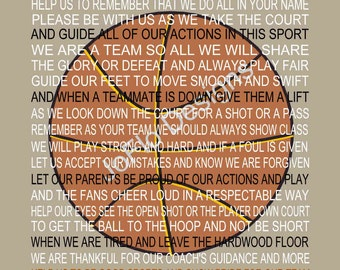 The Basketball Prayer personalized  with Basketball, Sports Prayer, Senior Night, Sports Banquet, Basketball Print