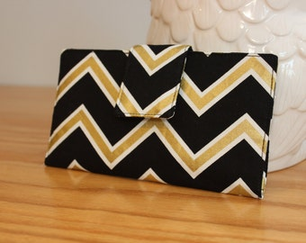 Black and Gold Chevron Wallet New Years Celebration Christmas Gifts for Her
